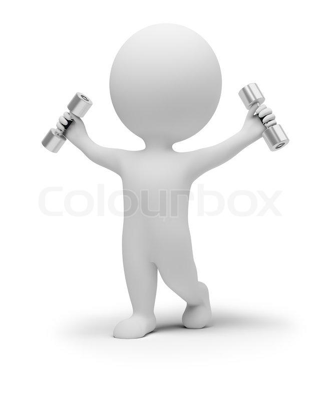 Inspiration K Che 3d små mennesker gør gymnastik med håndvægte stock foto colourbox
