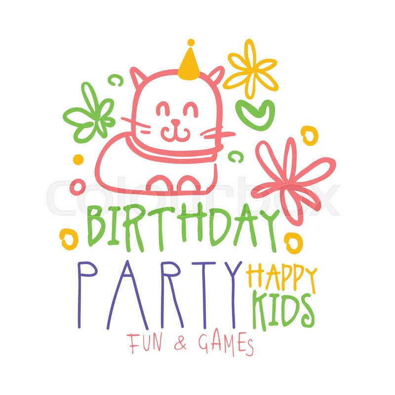 Birthday Party Happy Kids Fun And Games Promo Sign Childrens Party