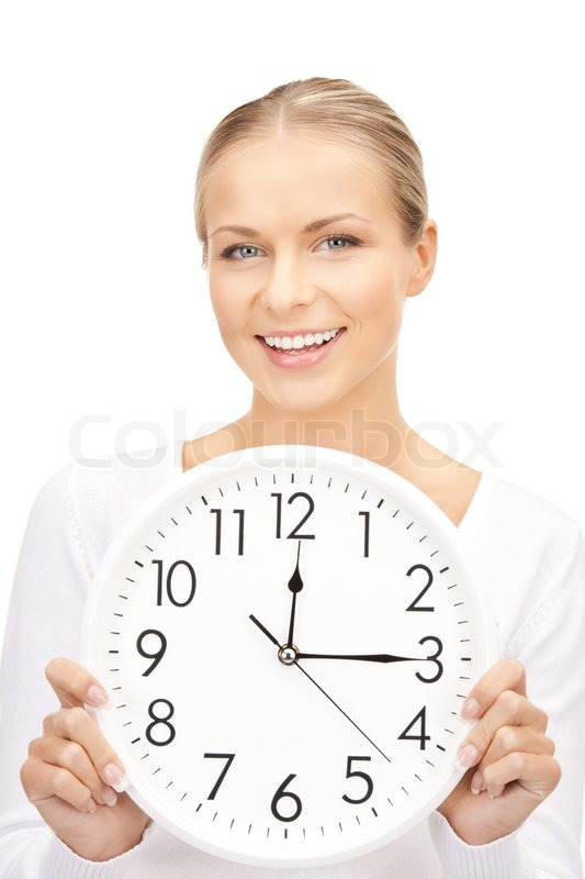 Bright picture of woman holding big clock, stock photo