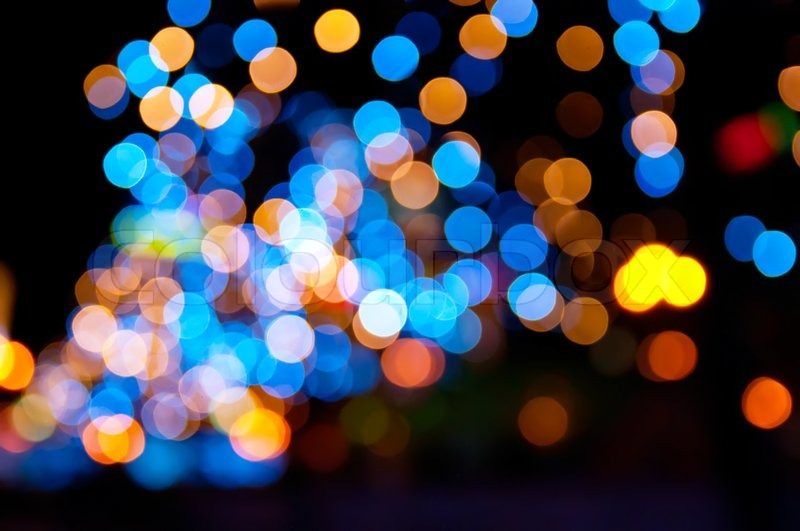 Christmas Shiny City Bokeh In Yellow And Blue Colors