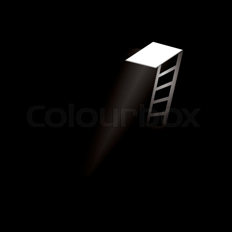 A Ladder In The Dark Basement. Ray Of Light In The Ceiling