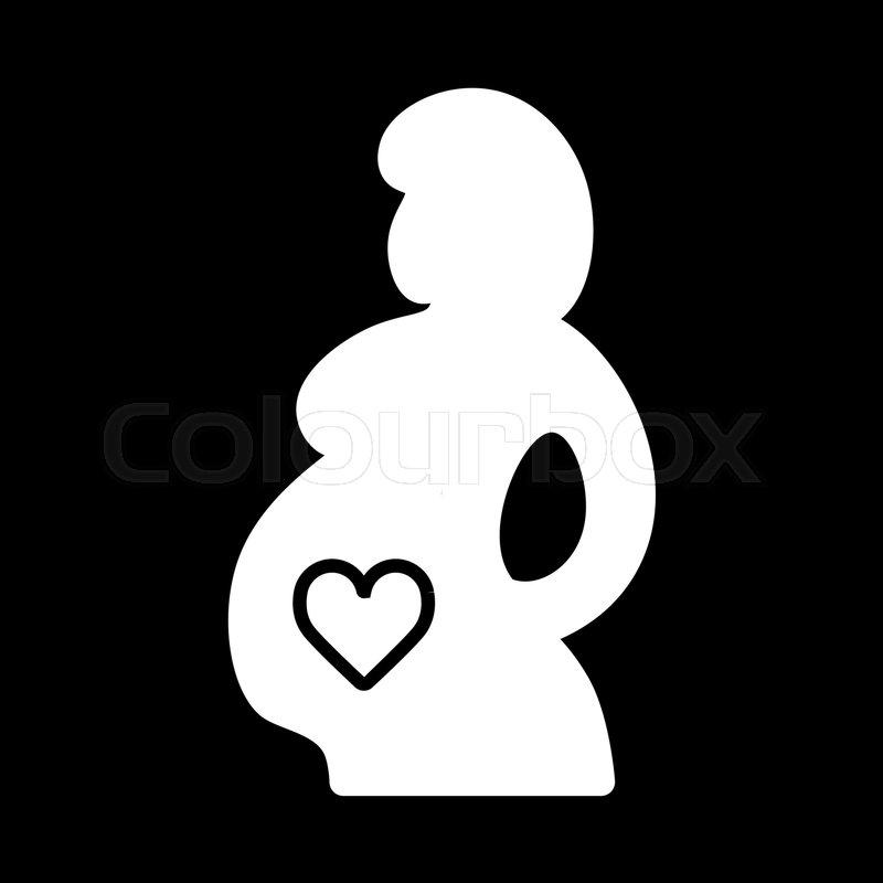 Pregnant Woman Vector Icon Black And White Pregnancy Illustration