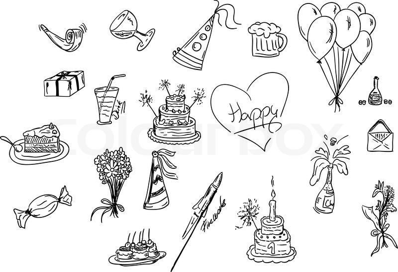 Vektor Illustration Set Geburtstag Symbole Vektorgrafik Colourbox