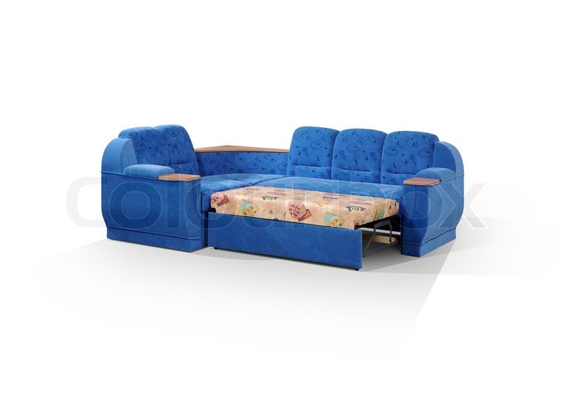 eckige sofa dunkelblaue farbe in einem bett zerlegt stockfoto colourbox. Black Bedroom Furniture Sets. Home Design Ideas