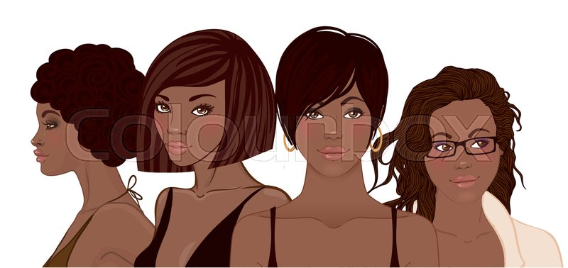 Group Of African American Pretty Girls Female Portrait