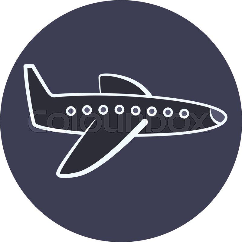 Flat Dark Cartoon Plane With White Outline Icon Airplane Symbol