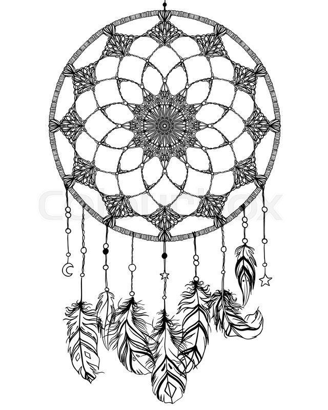 Vector Hipster Illustration Isolated On White Ethnic Design Boho Chic Tribal Symbol Coloring Book For Adults