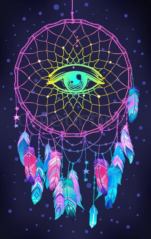 Hand Drawn Native American Indian Talisman Dreamcatcher With Eye