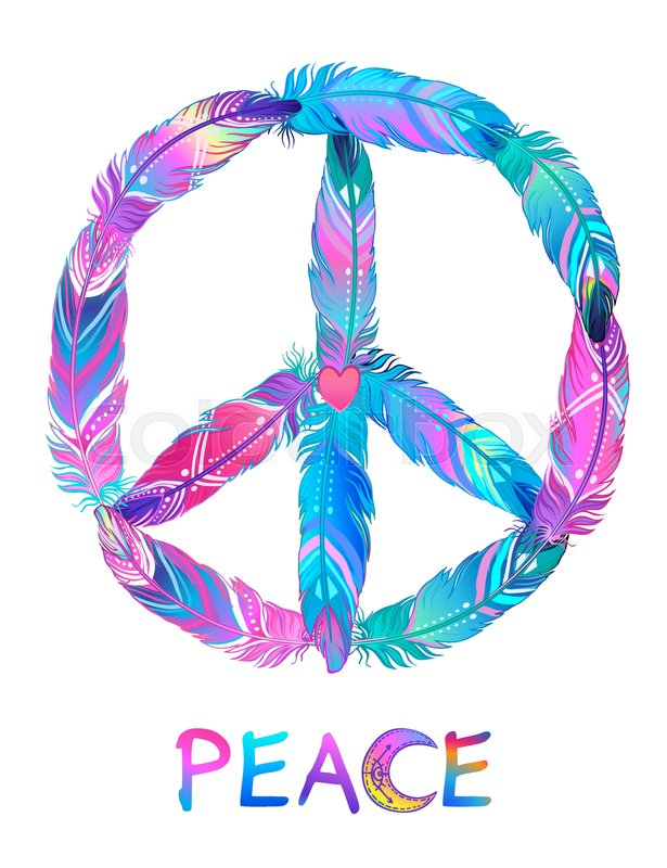 Peace Sign Made Of Colored Bird Feathers Hippie Symbol Sixties