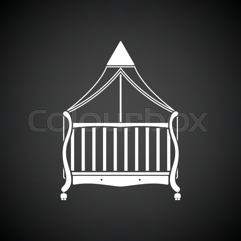 Crib with canopy icon. Black background with white. Vector illustration vector & Crib with canopy icon. Black background with white. Vector ...