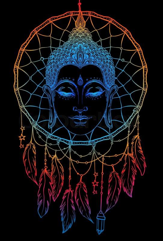 97c539e0e9b62 Buddha face over dreamcatcher round ... | Stock vector | Colourbox
