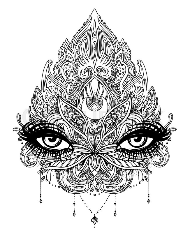 Coloring Book For Adults Vector Stock Of Ornamental Lotus Flower All Seeing Eye Patterned Indian