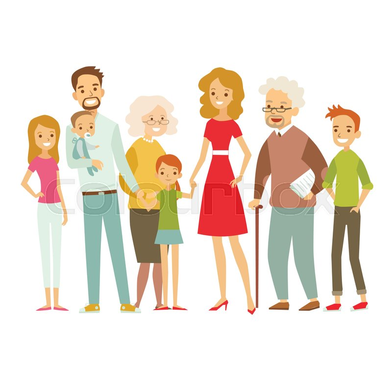Big Family Together Vector Stock Vector Colourbox