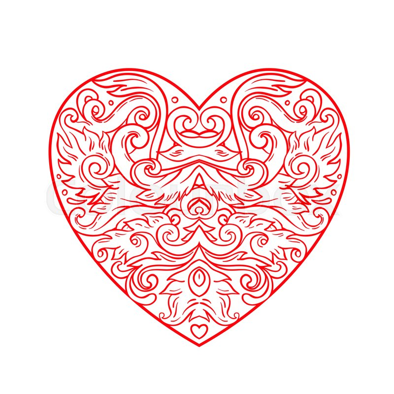 Ornamental Balinese Style Heart Stock Vector Colourbox