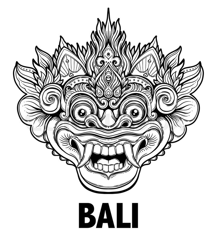 Barong. Traditional ritual Balinese mask. Vector ...