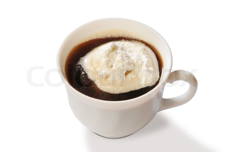 Stock image of 'In white cup black coffee with ice-cream'