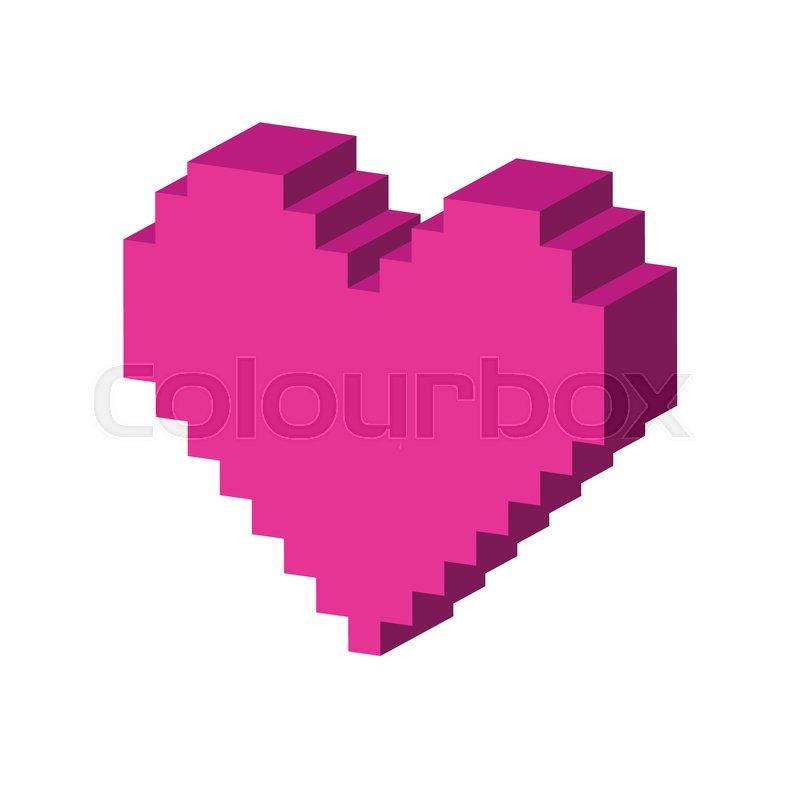 Pixel Heart Symbol Flat Isometric Icon Or Logo 3d Style Pictogram