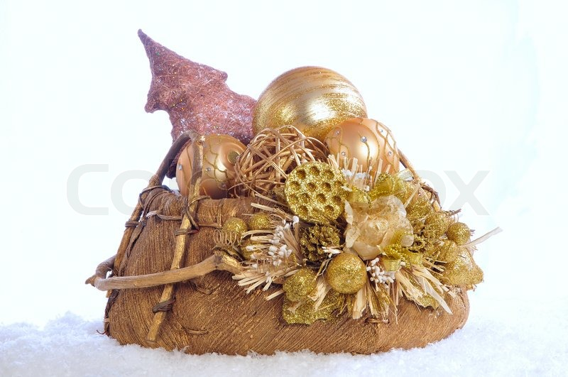 christmas basket with the christmas tree decorations on white stock photo colourbox