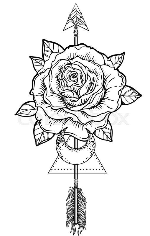 blackwork tattoo flash rose flower stock vector