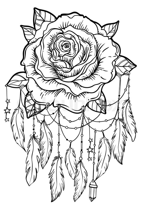 Dream catcher with rose flower