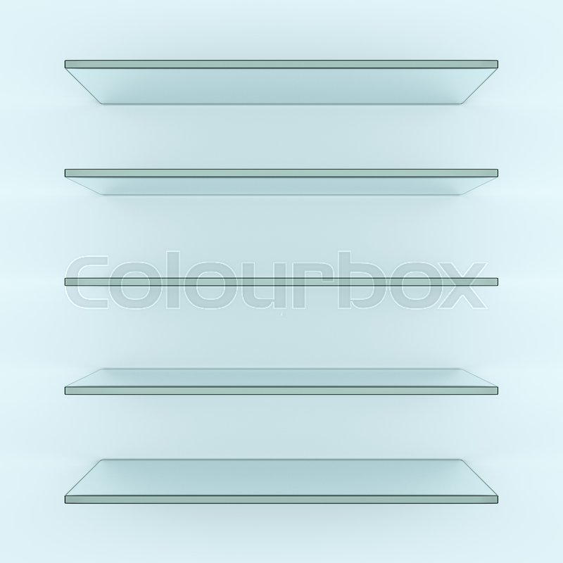 Five alike glass shelves on white wall. 3d illustration. Template for your design, stock photo