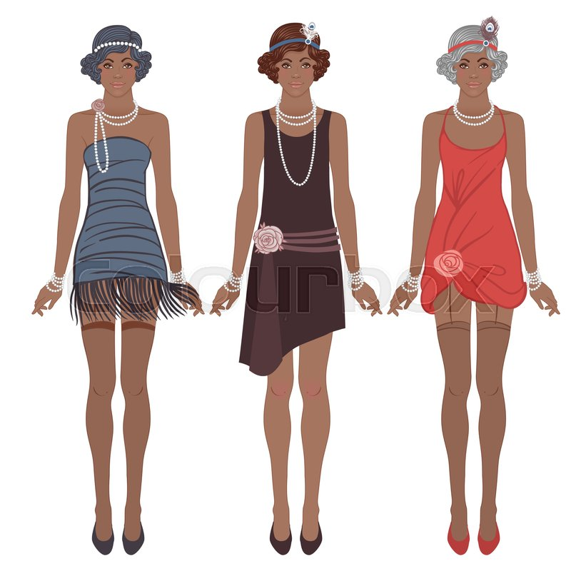 Retro Fashion Glamour Girl Of Twenties African American Woman Vector Illustration Flapper