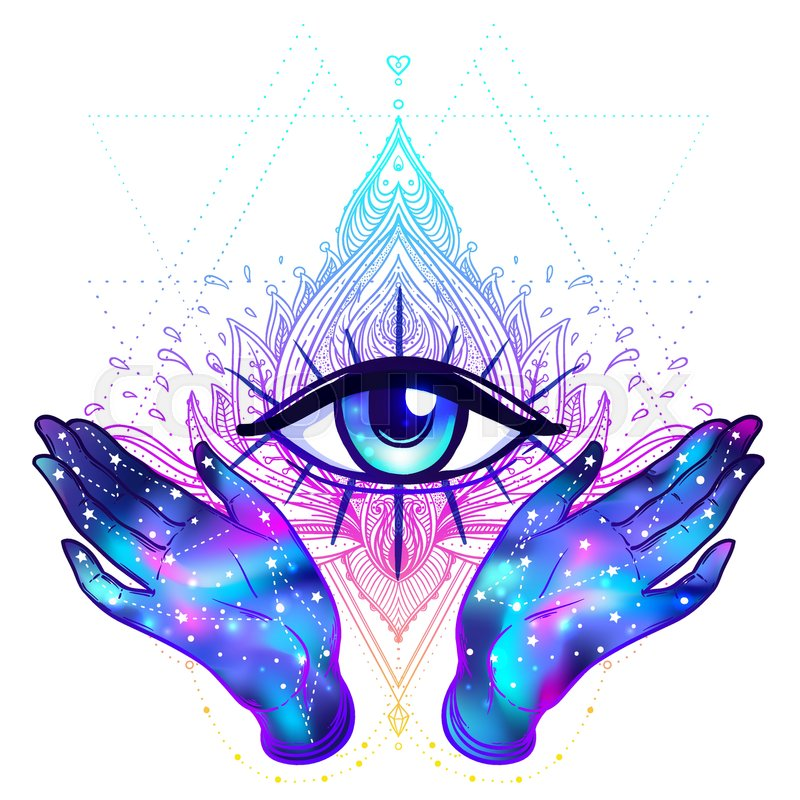 Female Hands With Galaxy Inside Open Around Masonic Symbol New