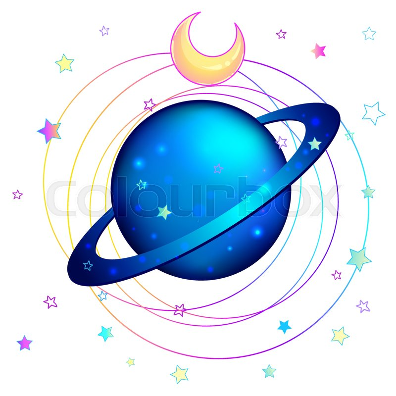 Astronomy Saturn Planet Hand Drawn Colorful Art Kawaii Style