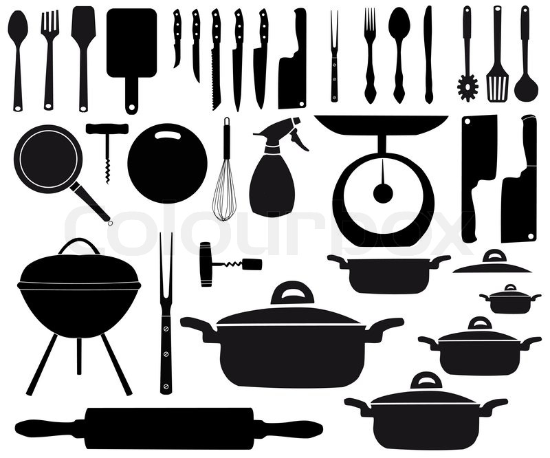 Vektor af 'vektor illustration af køkken redskaber til madlavning
