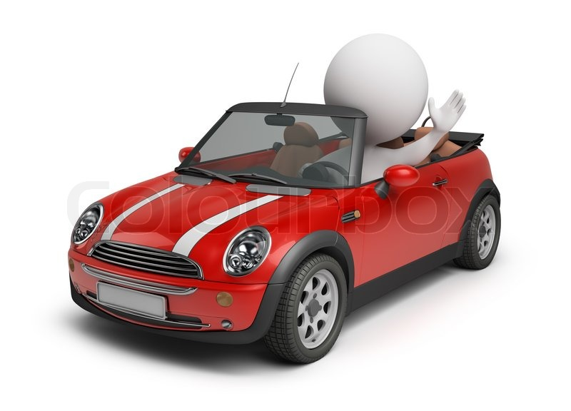 3d small people driving the small car