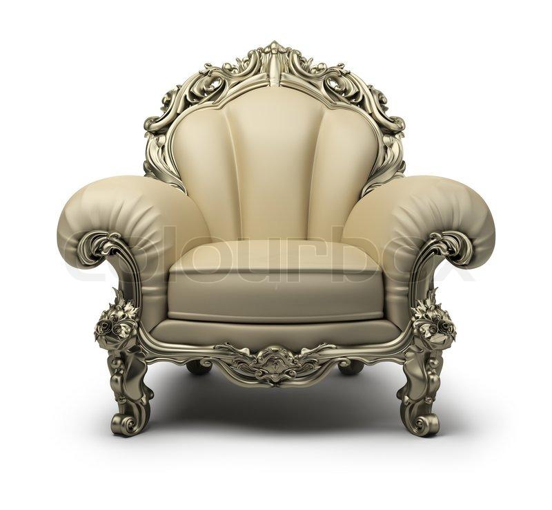 Luxus sessel  Luxus -Sessel der beige Farbe, mit einem silbernen Dekor ...