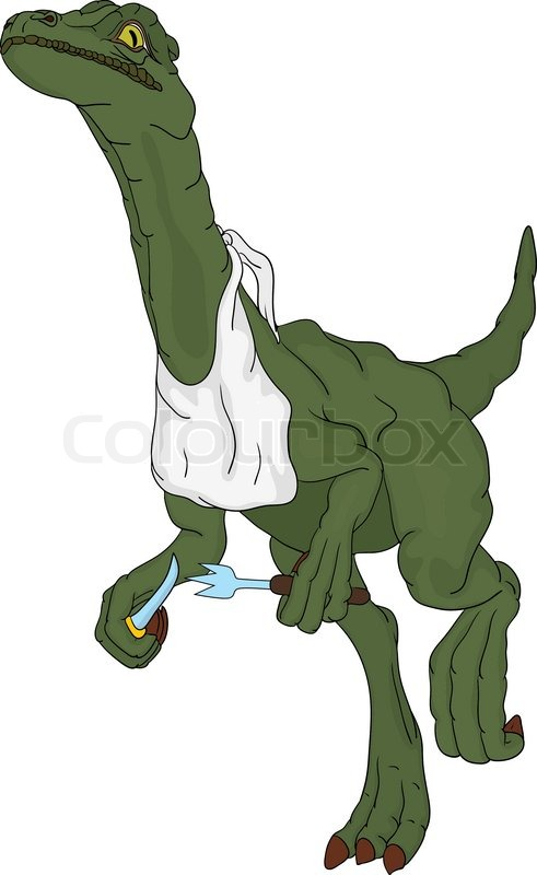 Vector Hungry Dinosaur Runs With Cutlery Stock Vector