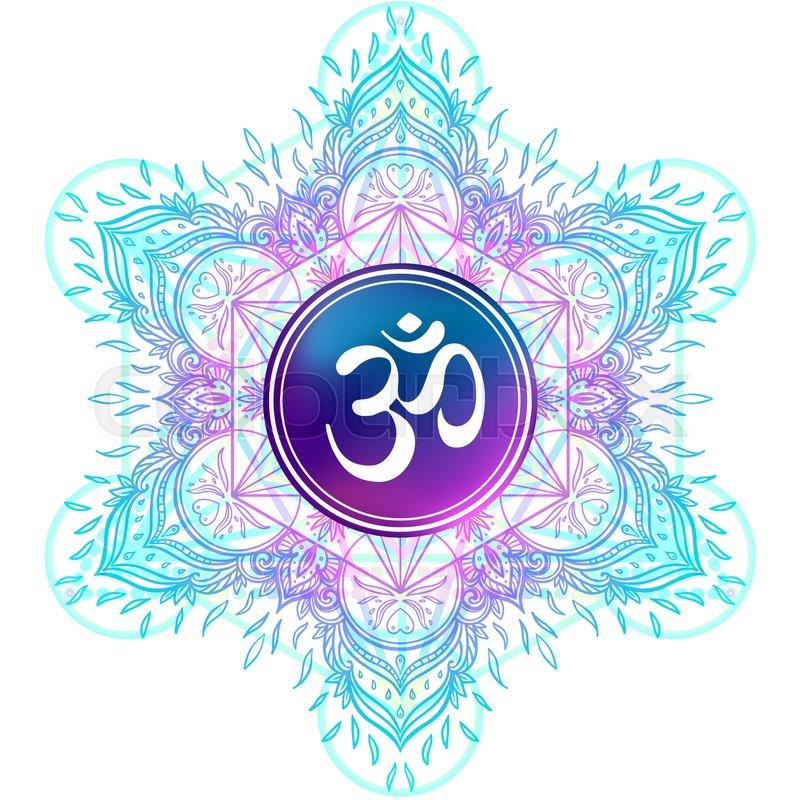 Diwali Om Symbol With Mandala Round Pattern Vintage Style