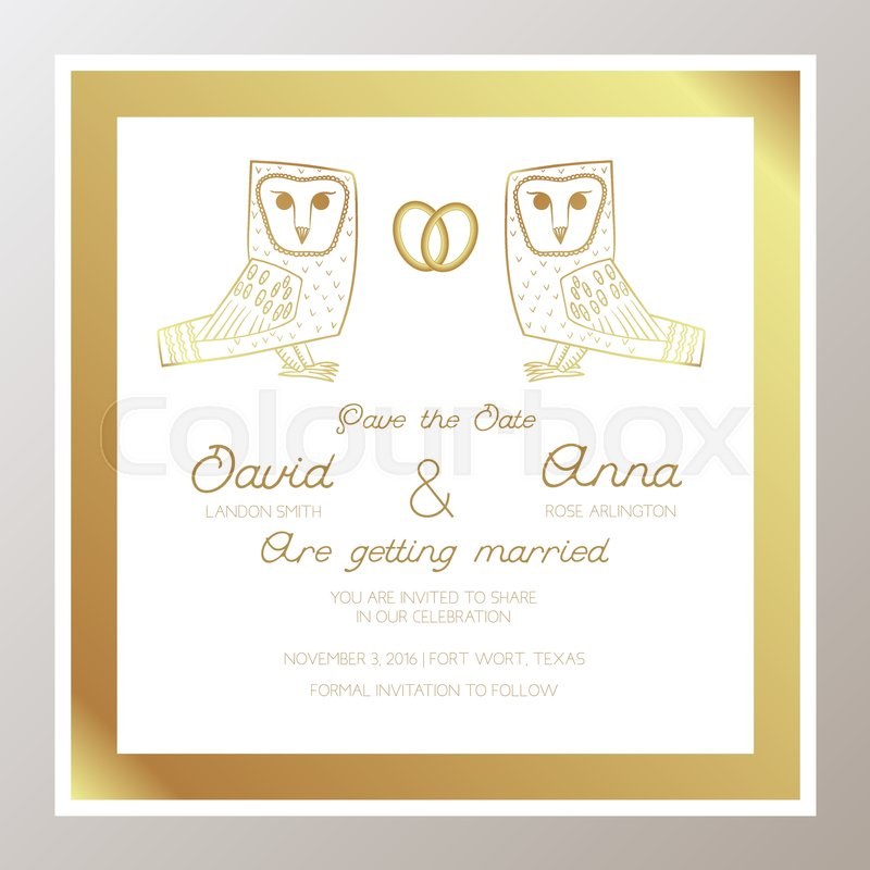 Romantic wedding invitation with gold rings owls square shape romantic wedding invitation with gold rings owls square shape suitable for bachelorette party keep this date congratulations vector stopboris Choice Image