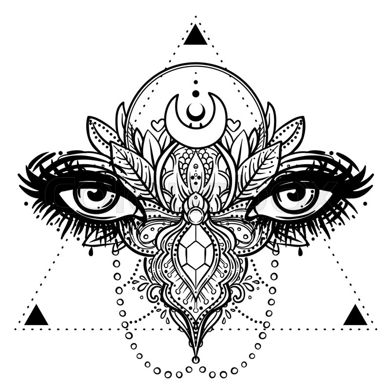 Ornate Decorated Butterfly Wings For Eyes Hand Drawn Vector Illustration Fantasy Occultism Tattoo Art Coloring Books Spirituality Hipster Print
