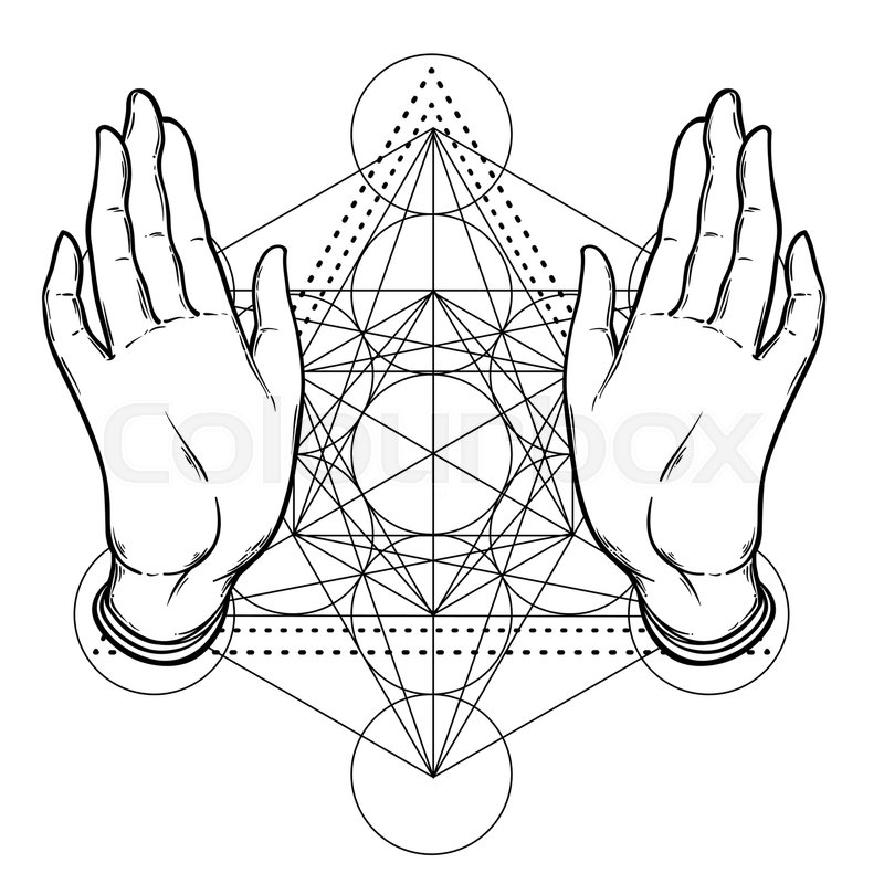 open hands over sacred geometry metatrons cube flower of life