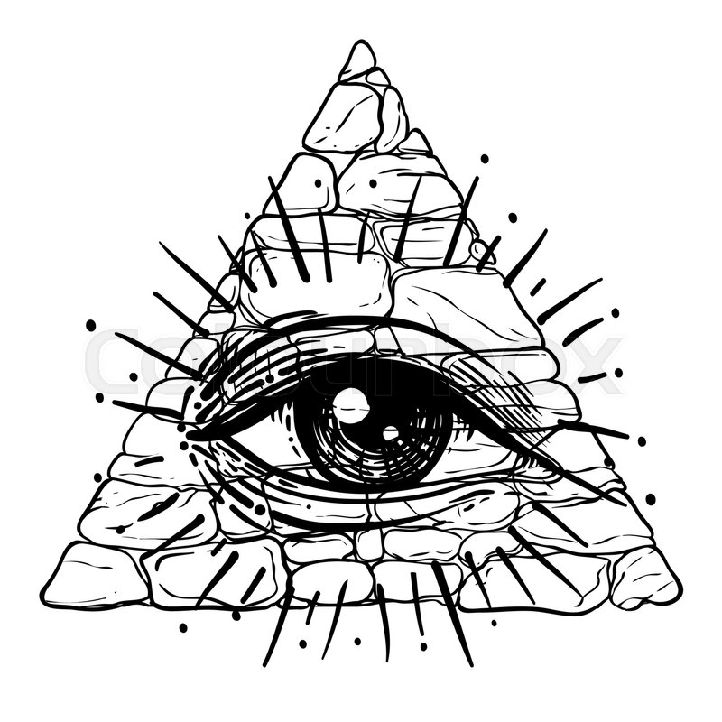 All seeing eye inside triangle pyramid new world order hand drawn alchemy religion spirituality occultism isolated vector illustration