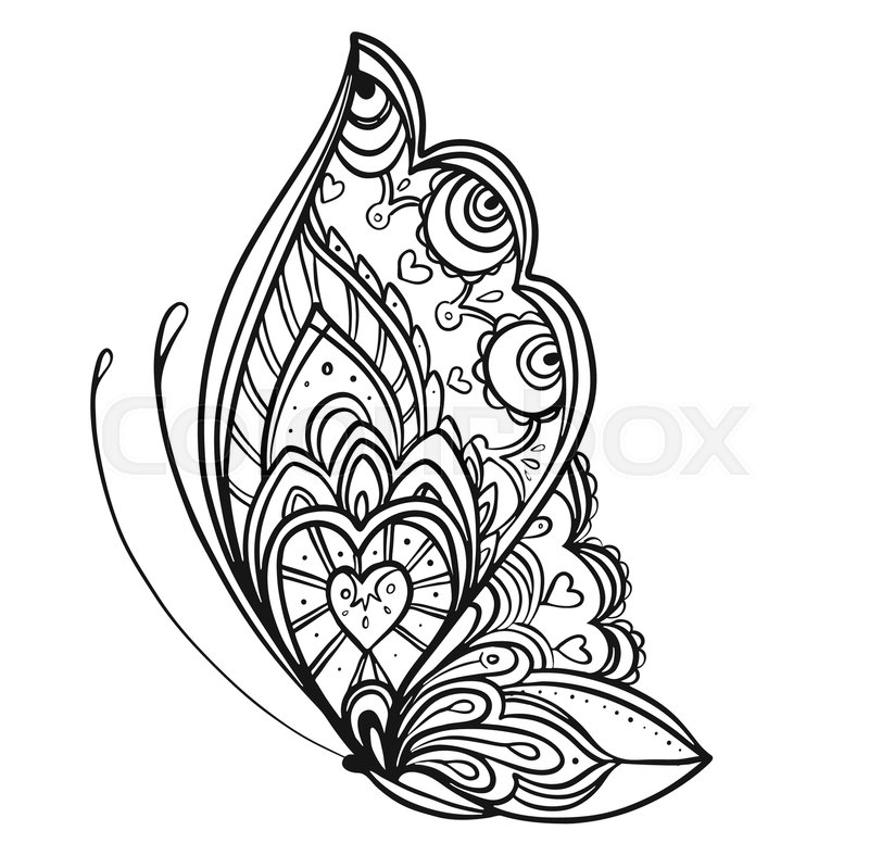 Hand drawn butterfly zentangle style inspired for t-shirt design or ...