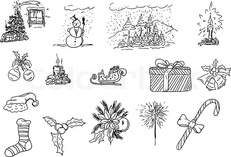 vektor illustration hand gezeichnet weihnachten. Black Bedroom Furniture Sets. Home Design Ideas