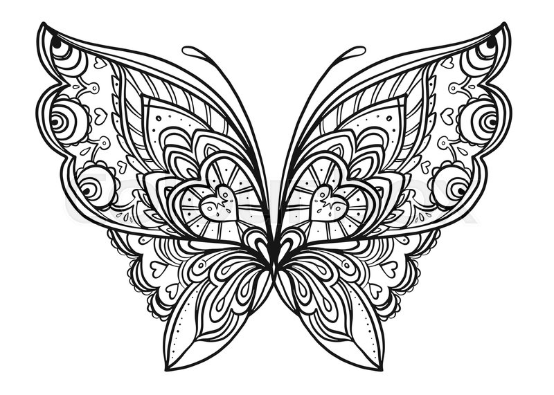 Hand Drawn Butterfly Zentangle Style Inspired For T Shirt Design Or Tattoo Coloring Book Kids And Adults Vector