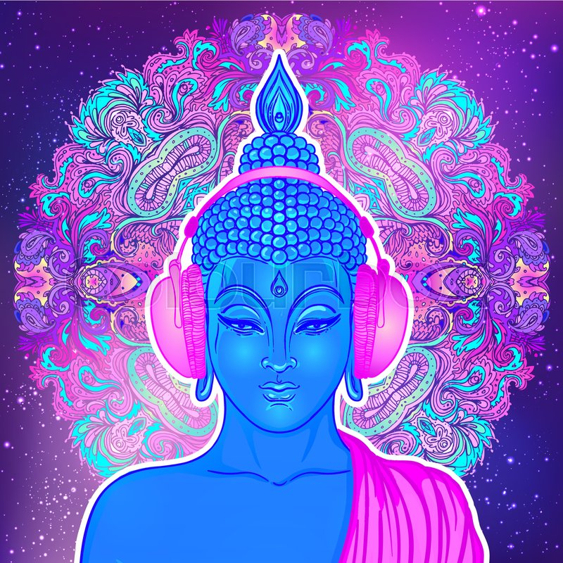 modern buddha listening to the music in headphones in neon colors