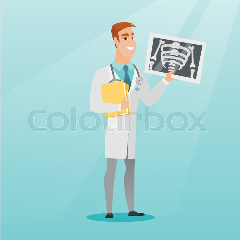 Caucasian doctor in a medical gown examining a radiograph. Young smiling doctor looking at a chest radiograph. Doctor observing a skeleton radiograph. Vector flat design illustration. Square layout, vector