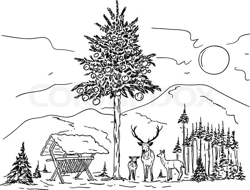 vector deer familie an weihnachten in die verschneite. Black Bedroom Furniture Sets. Home Design Ideas