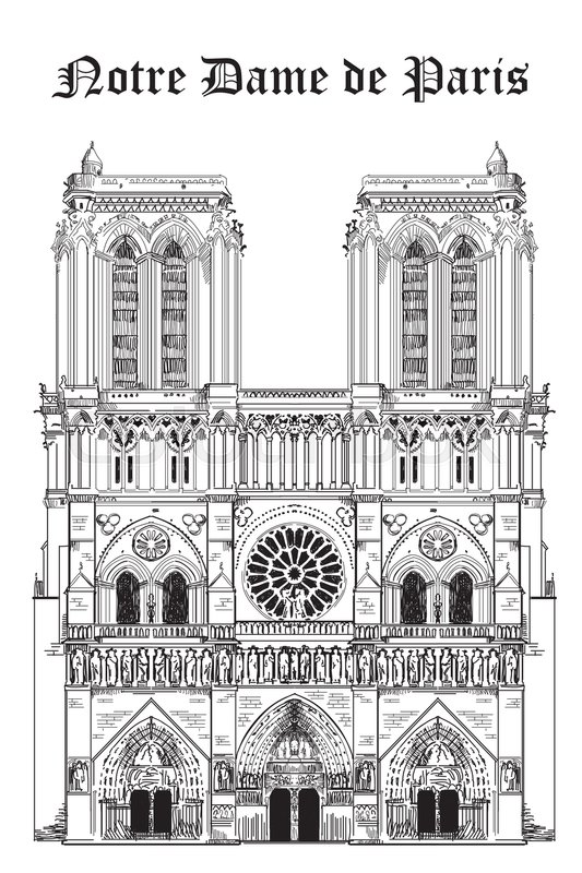 Notre Dame Cathedral Landmark Of Paris France Vector Isolated Hand Drawing Illustration In Black Color On White Background