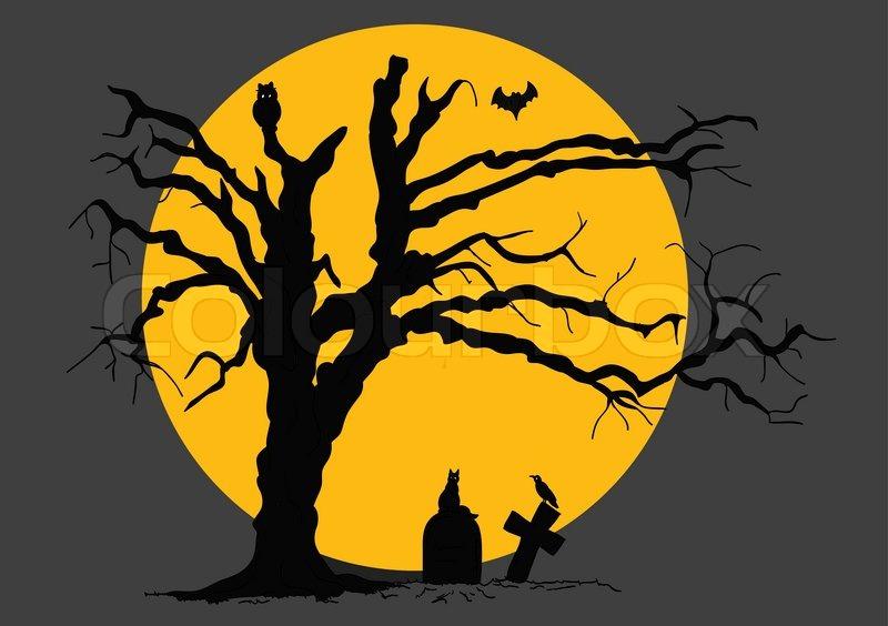 Vector - halloween scene with tree and animals | Stock Vector ...