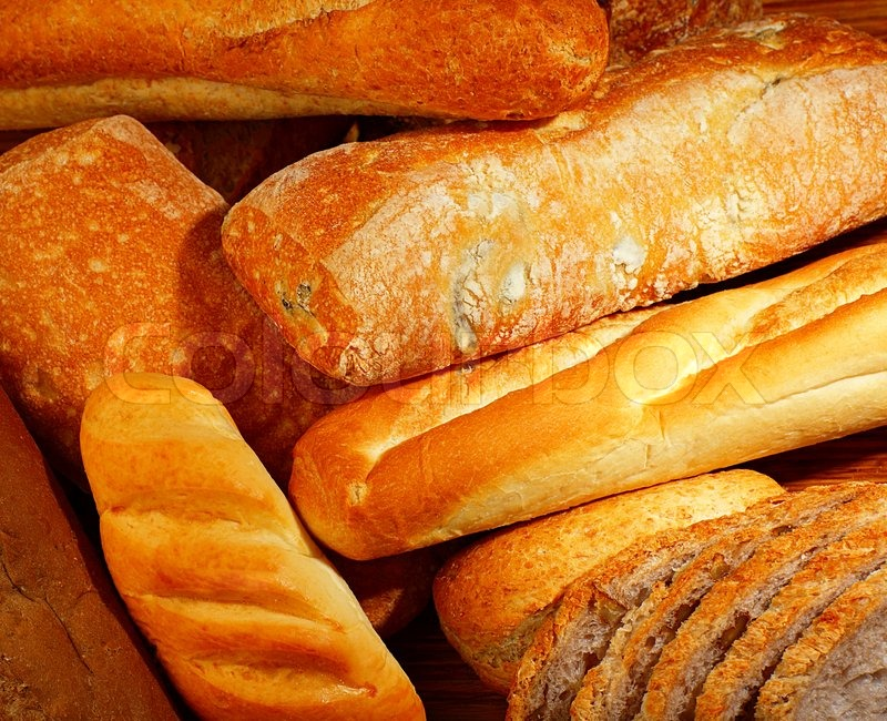 Fresh Baked Bread Background Variety Of Different Kind Of