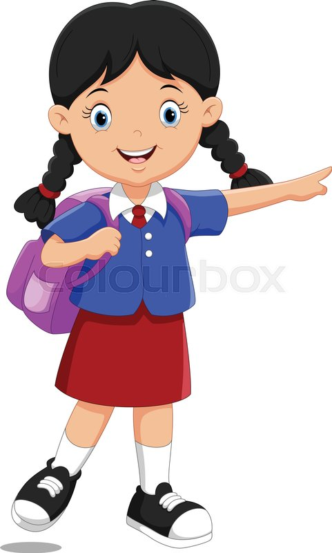 Vector illustration of cute school girl cartoon with ...