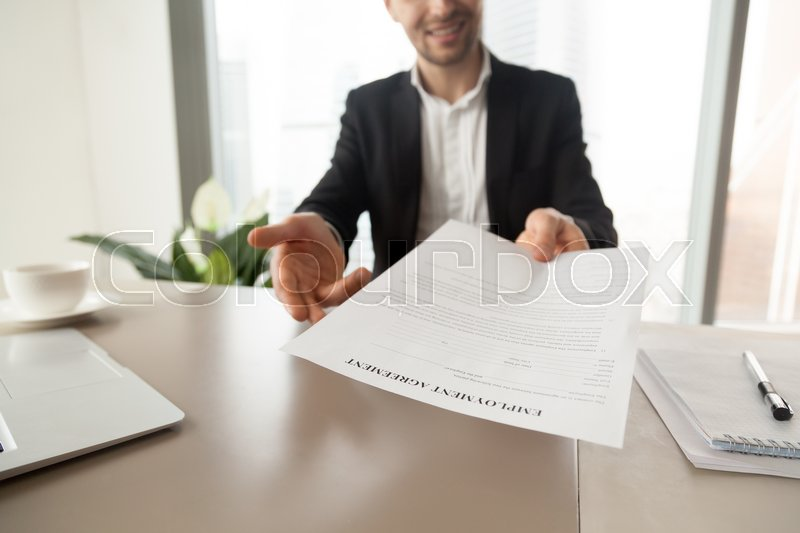 Recruitment Manager Reaching Out Sheet With Employment Agreement