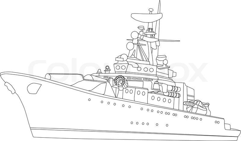 Kleurplaat Militair Vektor Schlachtschiff Isoliert Auf Vektorgrafik