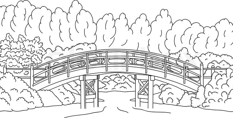stock vector of vector japanese garden with a bridge over water